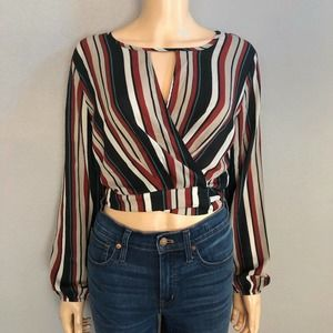 Windsor Striped Wrap Blouse Cropped Long Sleeve